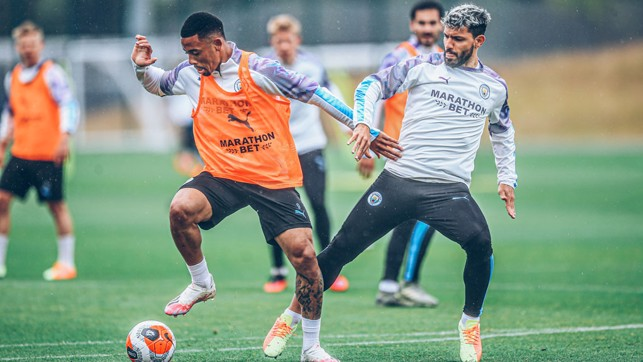 ACTION STATIONS: Gabriel Jesus and Sergio Aguero look to step it up