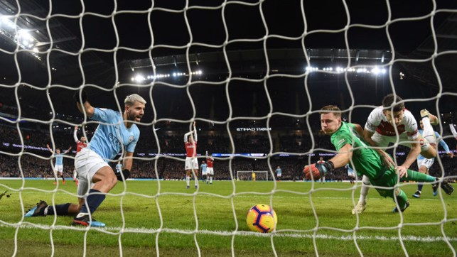 ROLLING THUNDER : Arsenal keeper Bernd Leno cant prevent Kun striking on the way to his 10th City league hat-trick, in a February 2019 Etihad clash