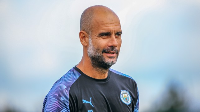 PEP TALK : The boss keeps a close eye on proceedings