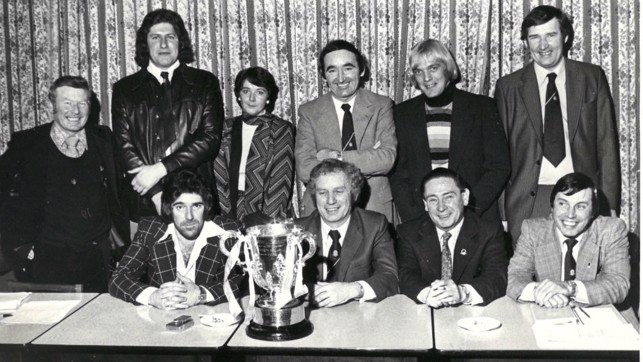 CUP WINNERS : Bernard (back row far right), along with former chairman Peter Swales and guests proudly poses with the League Cup
