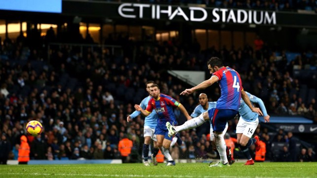 PALACE GOAL : Milivojević extends the visitor's lead from the spot.