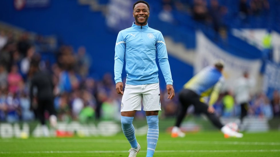 FAMILIAR SIGHT : Sterling was also in good spirits during the warm up.