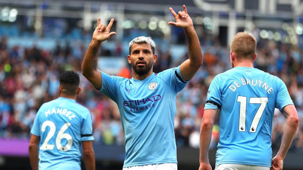 GOAL MACHINE : Sergio Aguero celebrates after netting his fifth goal of the season
