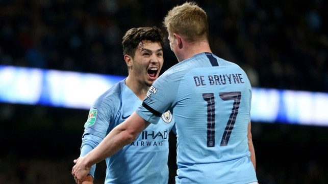 DELIGHT : KDB and Diaz after Brahim's second goal of the night.