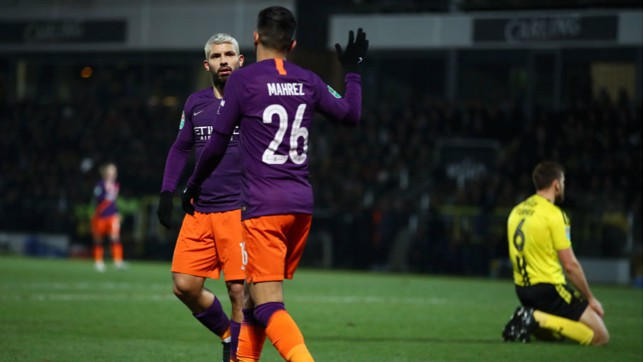 DYNAMIC DUO : Sergio Aguero acknowledges Riyad Mahrez' contribution to the opening goal