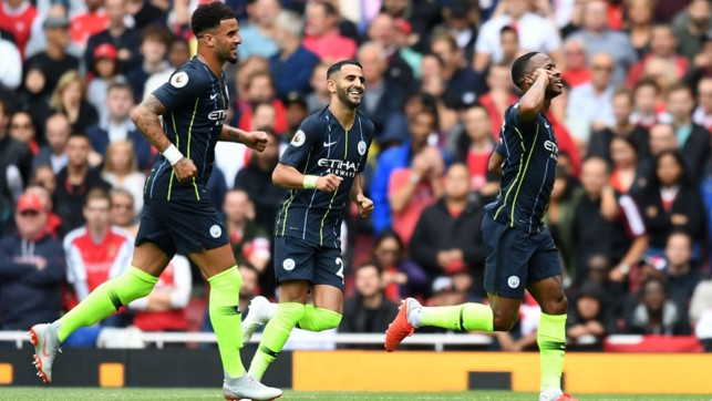 STERLING START : Opening day delight, as goals from Raheem Sterling and Bernardo Silva secure a 2-0 win at Arsenal