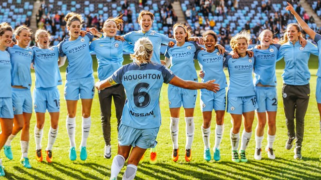 CHAMPIONS : Steph Houghton turns to her team-mates as celebrations of our first FA WSL title get under way in 2016.