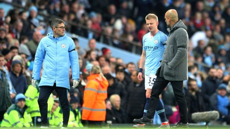 Oleksandr Zinchenko is substituted early in the first-half with an injury