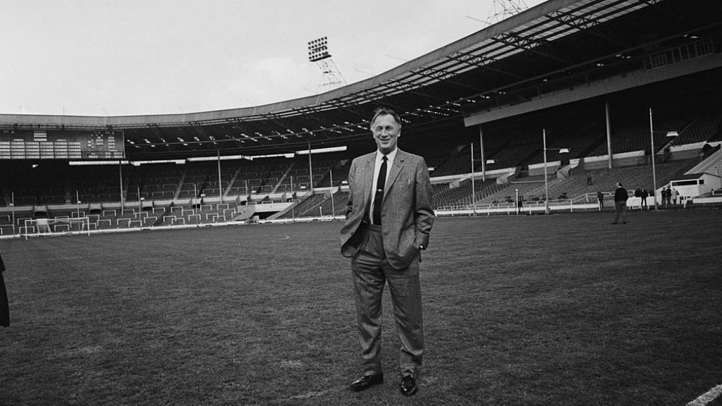 WEMBLEY WONDER : Joe takes in the surrounds at Wembley prior to the 1969 FA Cup final
