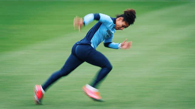 HEAD DOWN : Demi Stokes shows her speed.