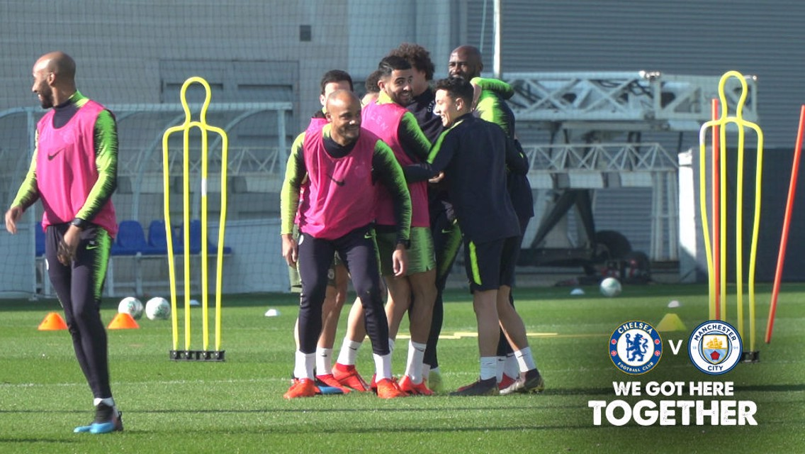 Training: City tune up for Wembley