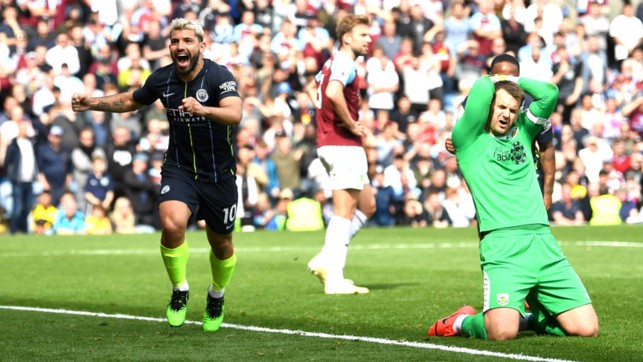 NARROW MARGINS : Sergio Aguero's 20th goal of the season crossed the line by an extraordinary 29.5mm to defeat Burnley!