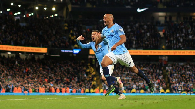 COMETH THE CAPTAIN : Skipper Vincent Kompany stepped up to unleash a 30-yard thunderbolt against Leicester to move City within touching distance of Premier League trophy