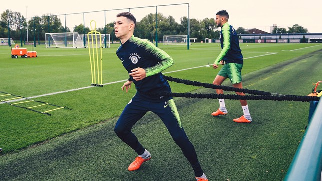 AT FULL STRETCH : Phil Foden is put through his paces