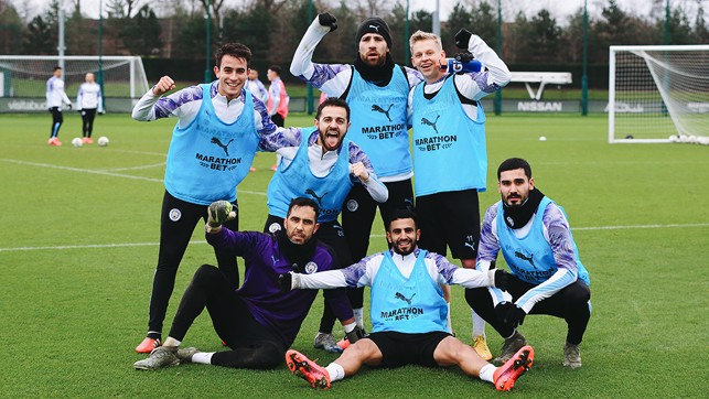 SEVEN UP : It was all smiles from Bernardo, Riyad and Co after their group emerged the victors in a squad training competiton