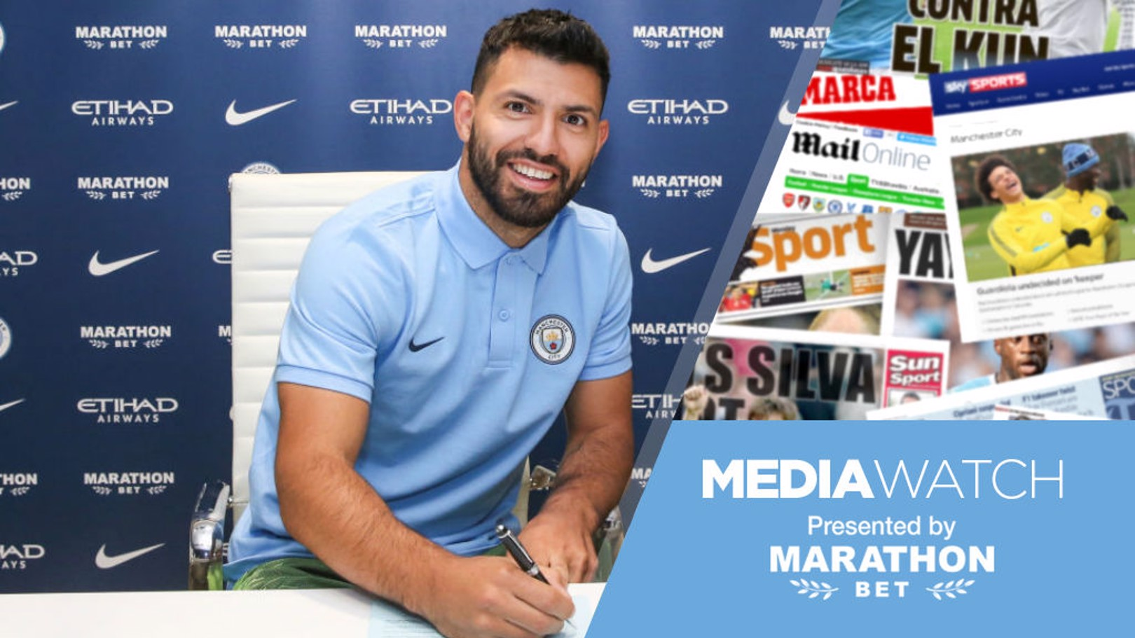 TRUE BLUE: Sergio Aguero has signed a new contract extension with Manchester City
