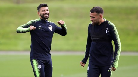 TWO'S COMPANY: City and Argentina team-mates Sergio Aguero and Nicolas Otamendi
