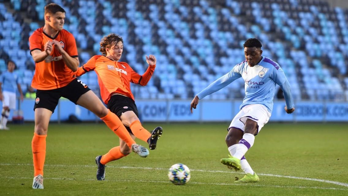 STRIKE: Fisayo Dele-Bashiru fires home City U19s second against Shakhtar Donetsk.
