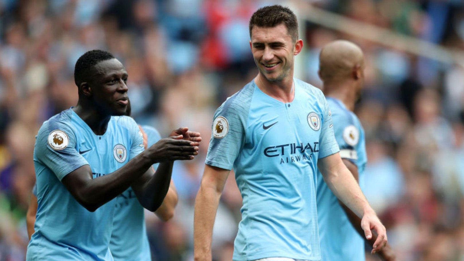 BLUE STEEL: Benjamin Mendy and Aymeric Laporte have played their part in City's sound defensive displays so far this season