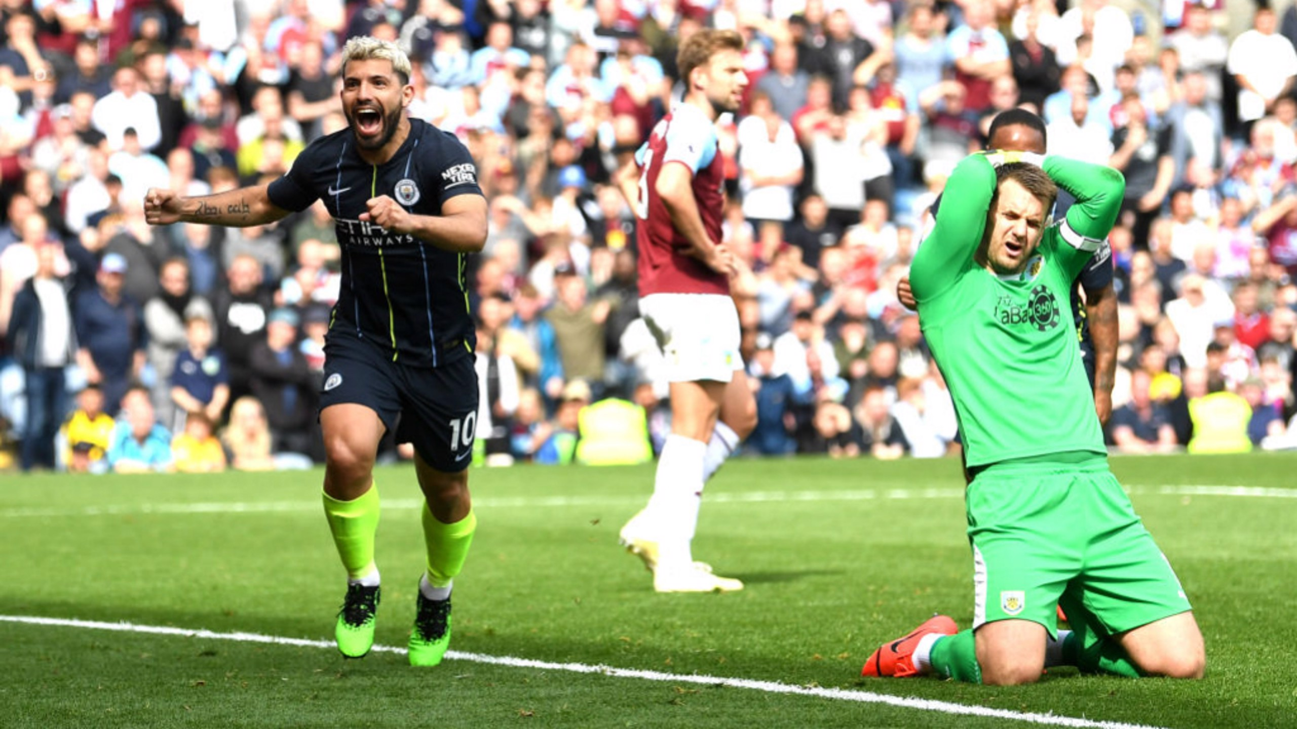 GET IN: Sergio Aguero grabbed the winner with his 20th goal of the season.