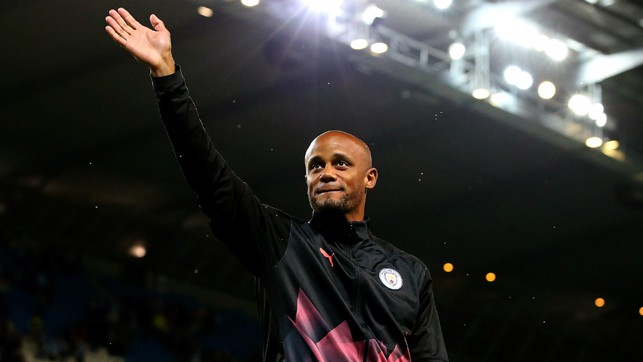 FAREWELL : After 11 legendary years, Kompany laps the Etihad and says his final goodbye to Manchester City