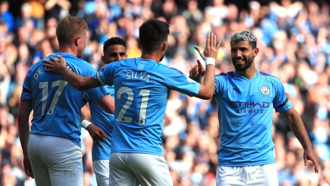 DREAM TEAM : Kevin de Bruyne, David Silva and Sergio Aguero celebrate City's third goal of the afternoon.