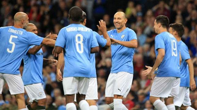DREAM START : Martin Petrov celebrates with the City Legends after grabbing a goal early on