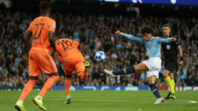 FRUSTRATION : Substitute Leroy Sane looks to power in a shot on the Lyon goal