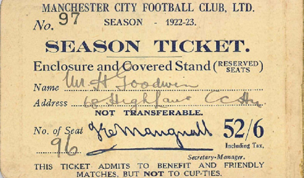 DETAILED : The inside of the 1922/23 season ticket