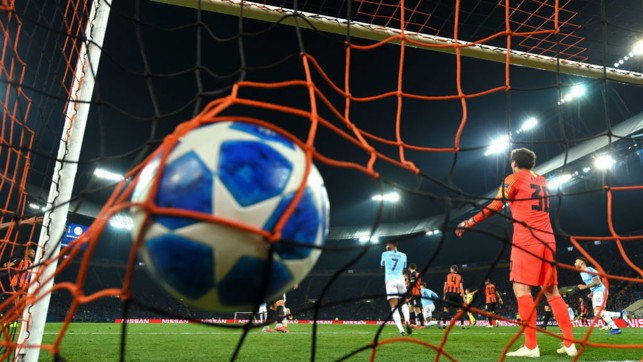NET GAIN : The ball nestles in the Shakhtar net after Aymeric Laporte's deft header