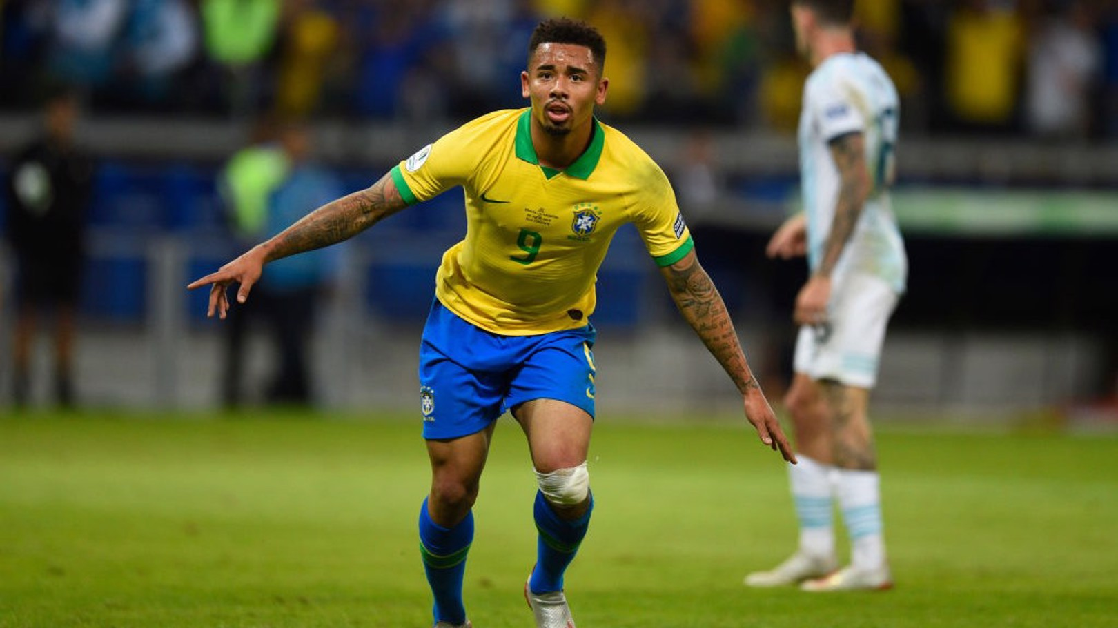 ON TARGET: Gabriel Jesus celebrates his crucial goal against Argentina.