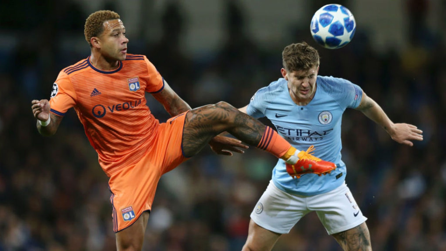 SHUT EYE: John Stones beats Memphis Depay to head clear