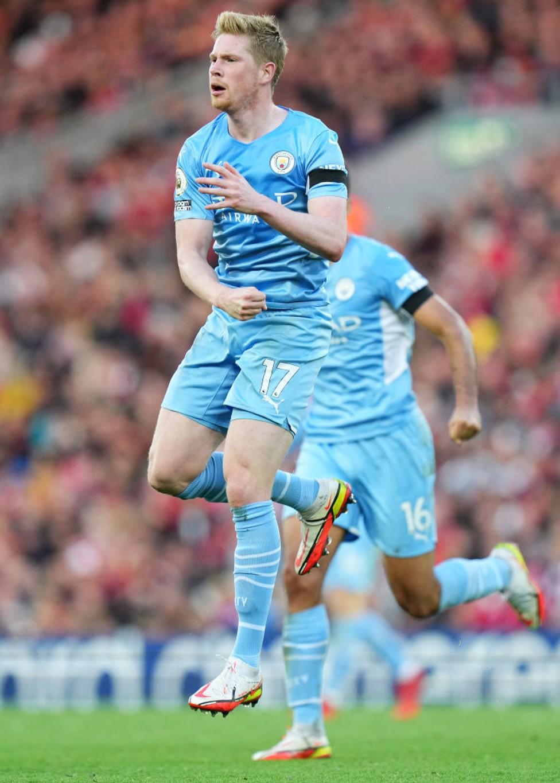 FIST PUMP : De Bruyne celebrates his crucial goal.