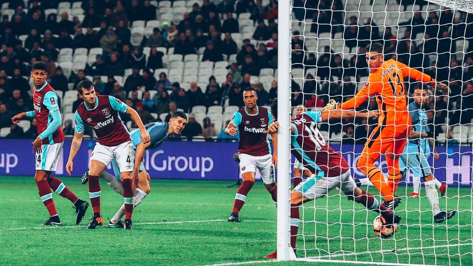TEPAT SASARAN: John membuka akun City-nya dalam kemenangan Piala FA atas West Ham pada Januari 2017.