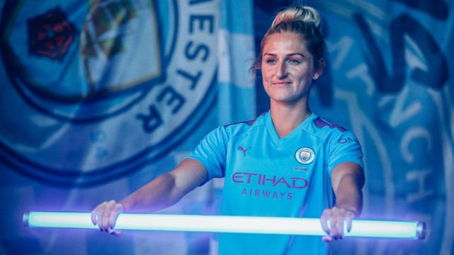 LIGHTNING STRIKE : Summer signing Laura Coombs gets in the derby mood
