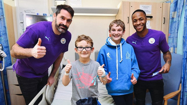 THUMBS UP : Raheem Sterling and Scott Carson's visit gets a thumbs up!