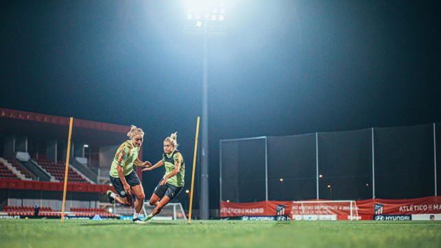 ALL LIT UP : The City squad were at full throttle during Tuesday's late night session