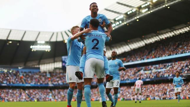 7-2 : Celebrations after scoring the first goal in our huge win over Stoke.