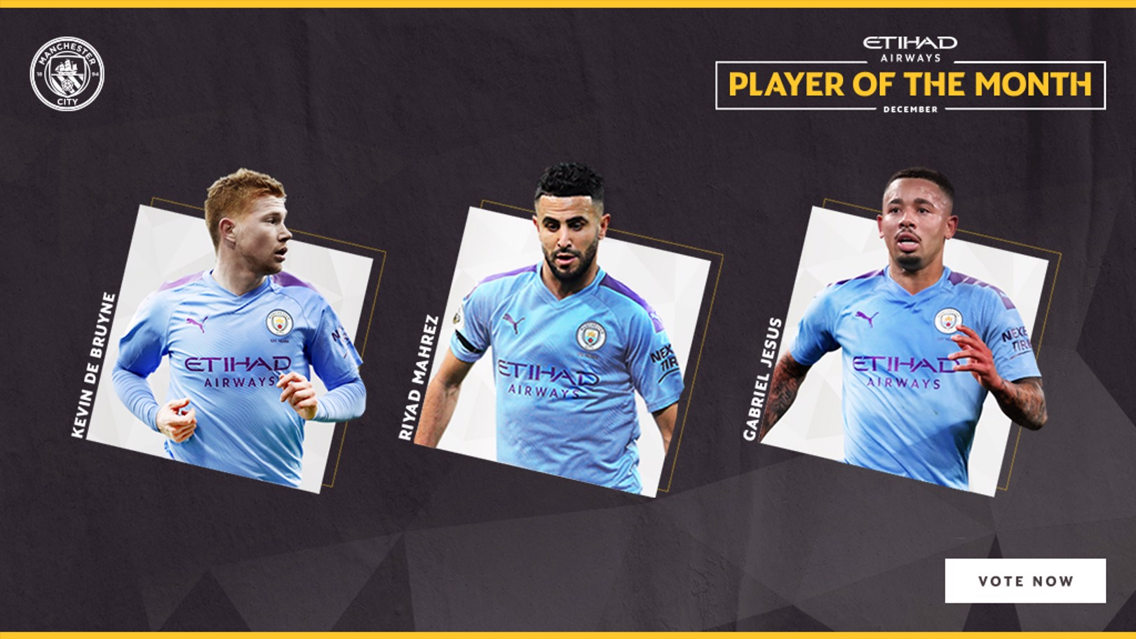 NOMINEES: Kevin De Bruyne, Riyad Mahrez and Gabriel Jesus are up for December's Etihad Player of the Month.