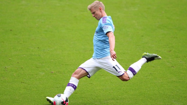 DELIVERY : Substitute Zinchenko whips the ball into the box as we look for a late winner.
