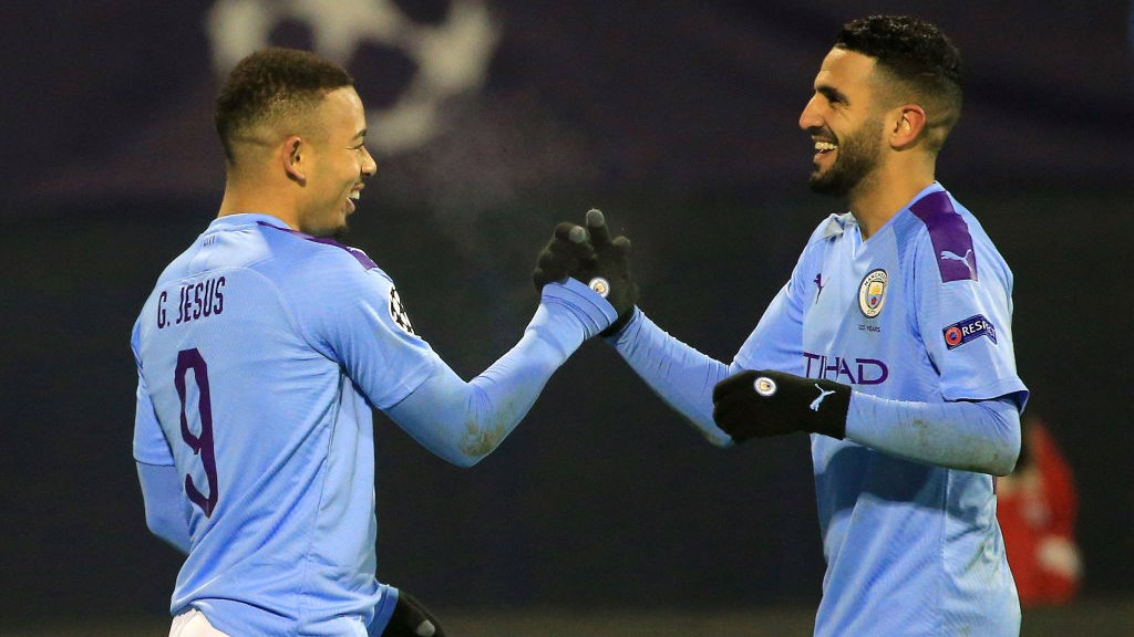 BLUES BROTHERS : Riyad Mahrez congratulates Gabriel Jesus on a good evening's work!