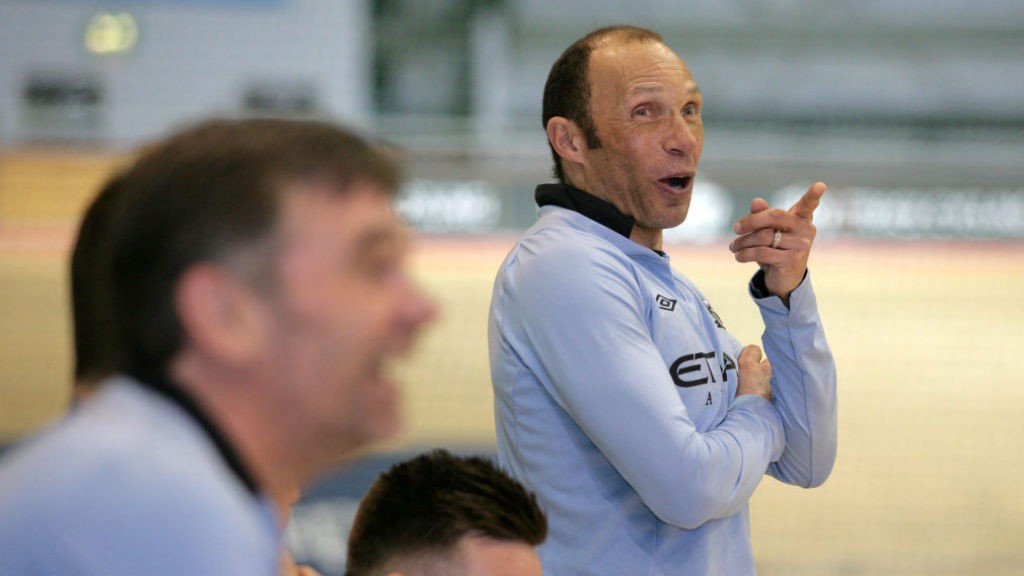 TRUE BLUE : Terry Phelan pictured during a charity event at Manchester's National Cycling Centre