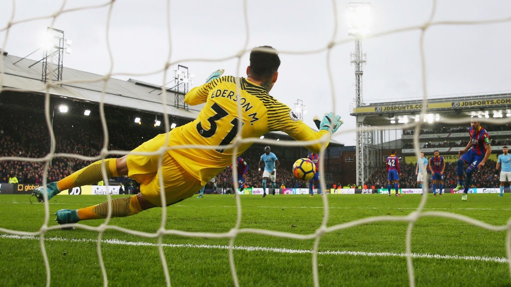 ON THE SPOT : Ederson saves a crucial late penalty at Crystal Palace  in December 2018