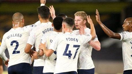 MAGIC MONDAY: Goalscorers Phil Foden and Kevin De Bruyne are the centre of attention