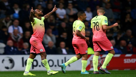 DEADLOCK BROKEN: Raheem Sterling celebrates after his stunning opener at Deepdale