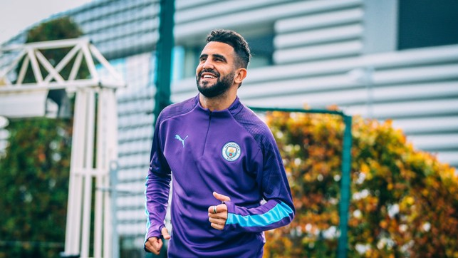 BACK TO WORK : Riyad races onto the training pitch.