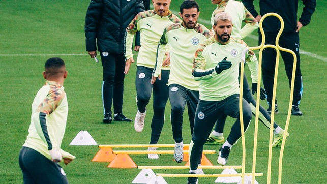 BEST FOOT FORWARD : Sergio Aguero leads the way... Onwards and upwards!