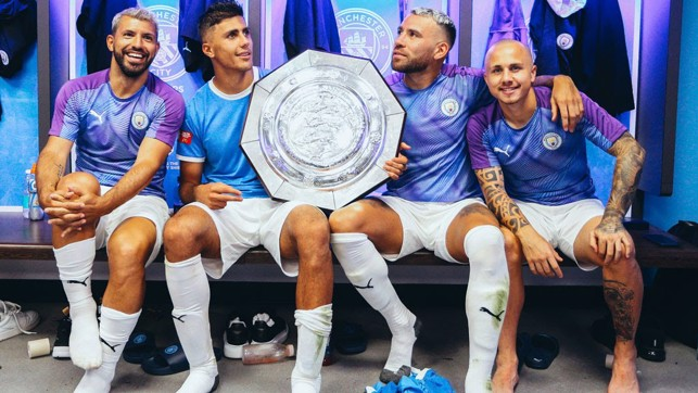 GOOD START : Celebrating our Community Shield win over Liverpool in August 2019.
