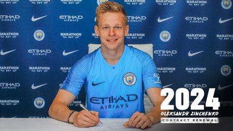 NEW DEAL: Oleksandr Zinchenko has extended his stay at Manchester City.