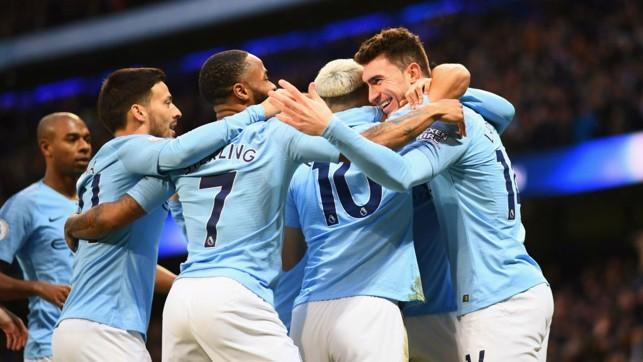 HALF WAY THERE : City celebrate 2-1 lead.